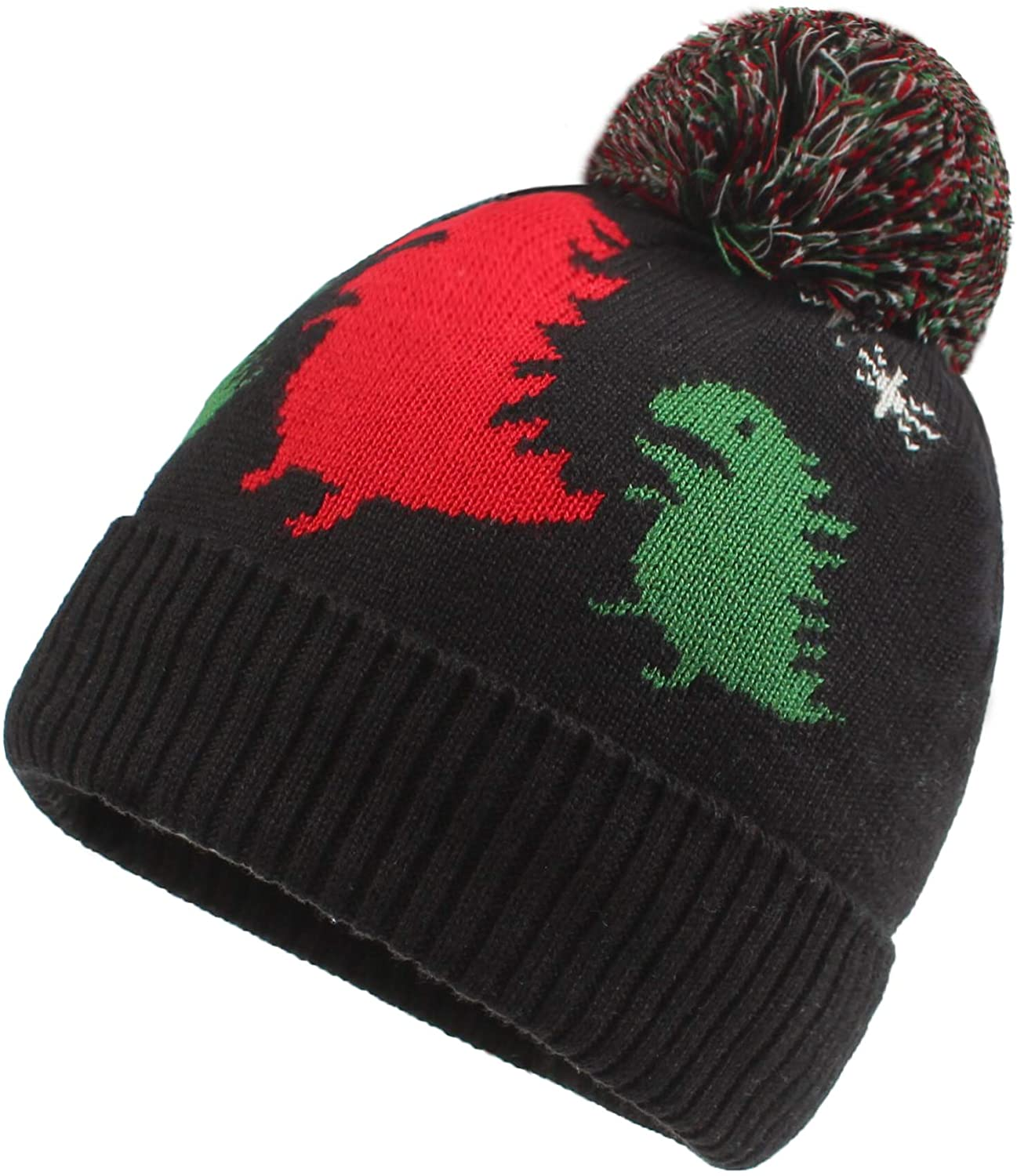 FUOITA Kids Baby Dinosaur Beanies Toddler Winter-Hat Pom-pom Caps Gift for Girls Boys