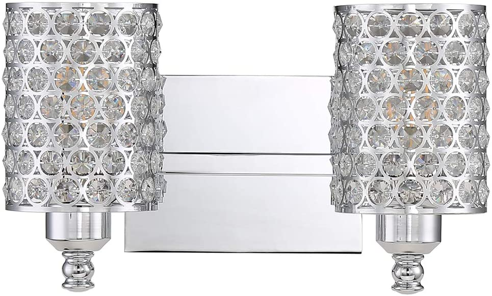 Seenming Lighting 2 Light Crystal Wall Sconce Lighting with Chrome,Modern and Concise Style Wall Light Polyhedral Opal Crystal Shade for Bath Room, Bed Room, LED Bulb(not Include)