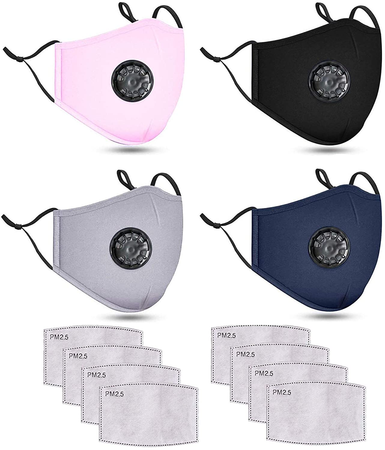 4 Pack Navy Unisex Washable Cotton Face Protection Reusable for Outdoor Adjustable Ear Loops