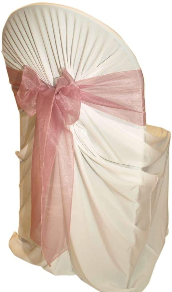 mds Pack of 50 Organza Chair sash Bow Sashes for Wedding and Events Supplies Party Decoration Chair Cover sash -Dusty Pink