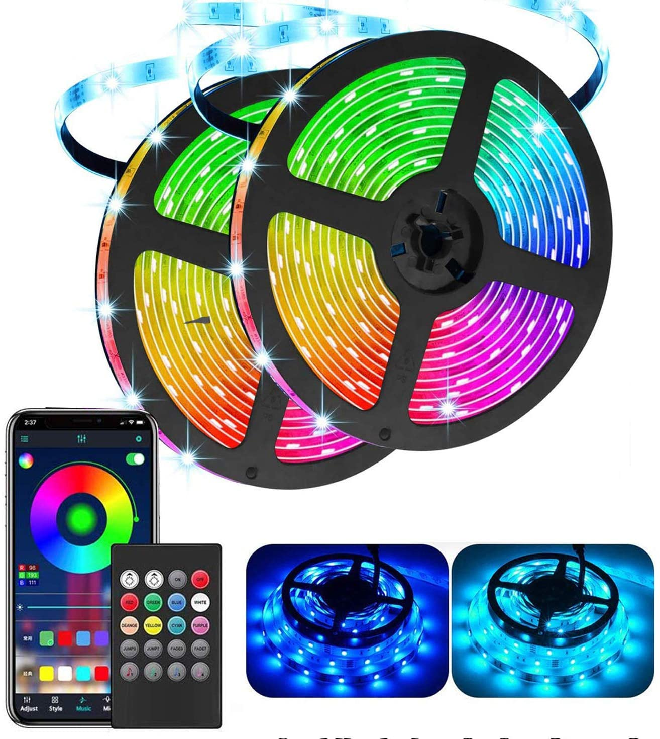 LED Strip Lights, Updated Waterproof IP65 32.8ft 300 5050 LEDs Color Changing Rope Light Work with Music APP(Bluetooth), Remote Control, for Bedroom Kitchen Holiday Party (10m)