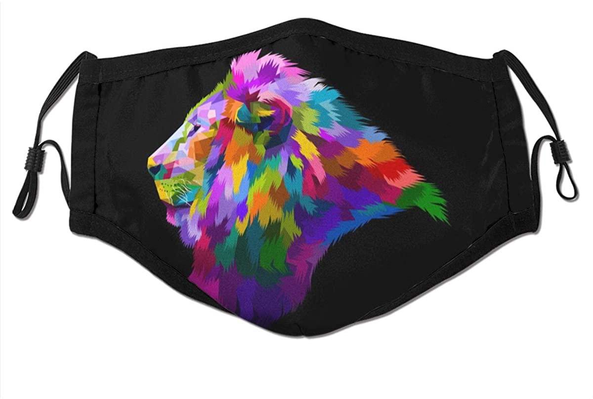 Lion Save My Jungle Retro Face Mask Fashion Dustproof Scarf Breathable Reusable Adjustable Washable Bandana
