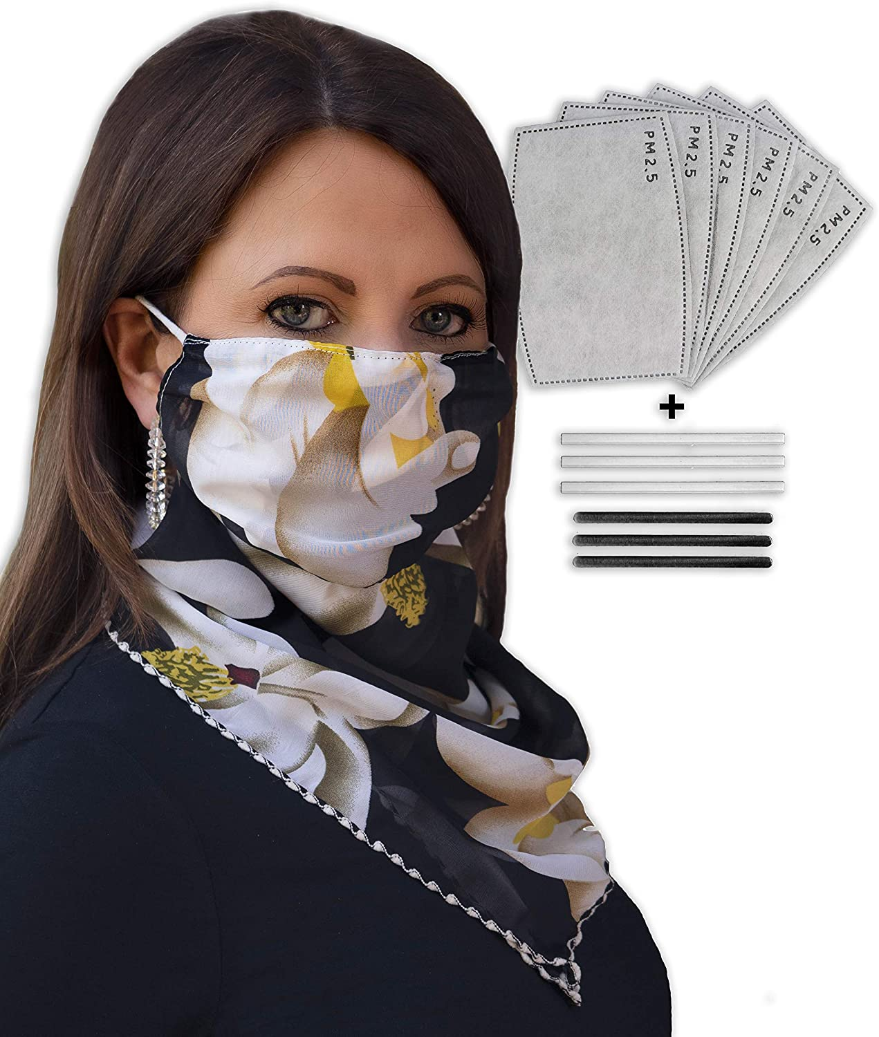 TOLDUSO Reusable Scarf Mask Neck Gaiter-Face Covering with 6 Filters and 6 Nose Bridge Strips