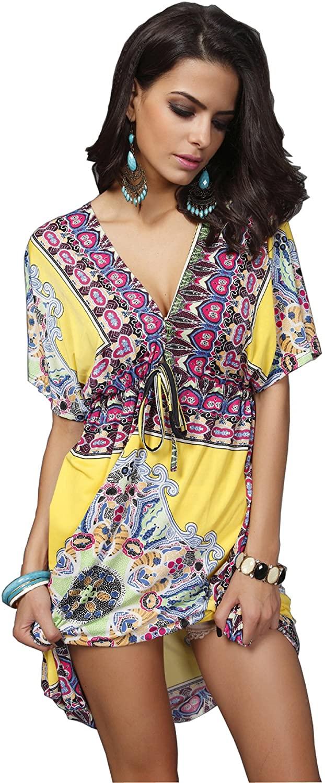 Wander Agio Womens Lace Short Sleeves Princess Dress Printing Beach Cover-up