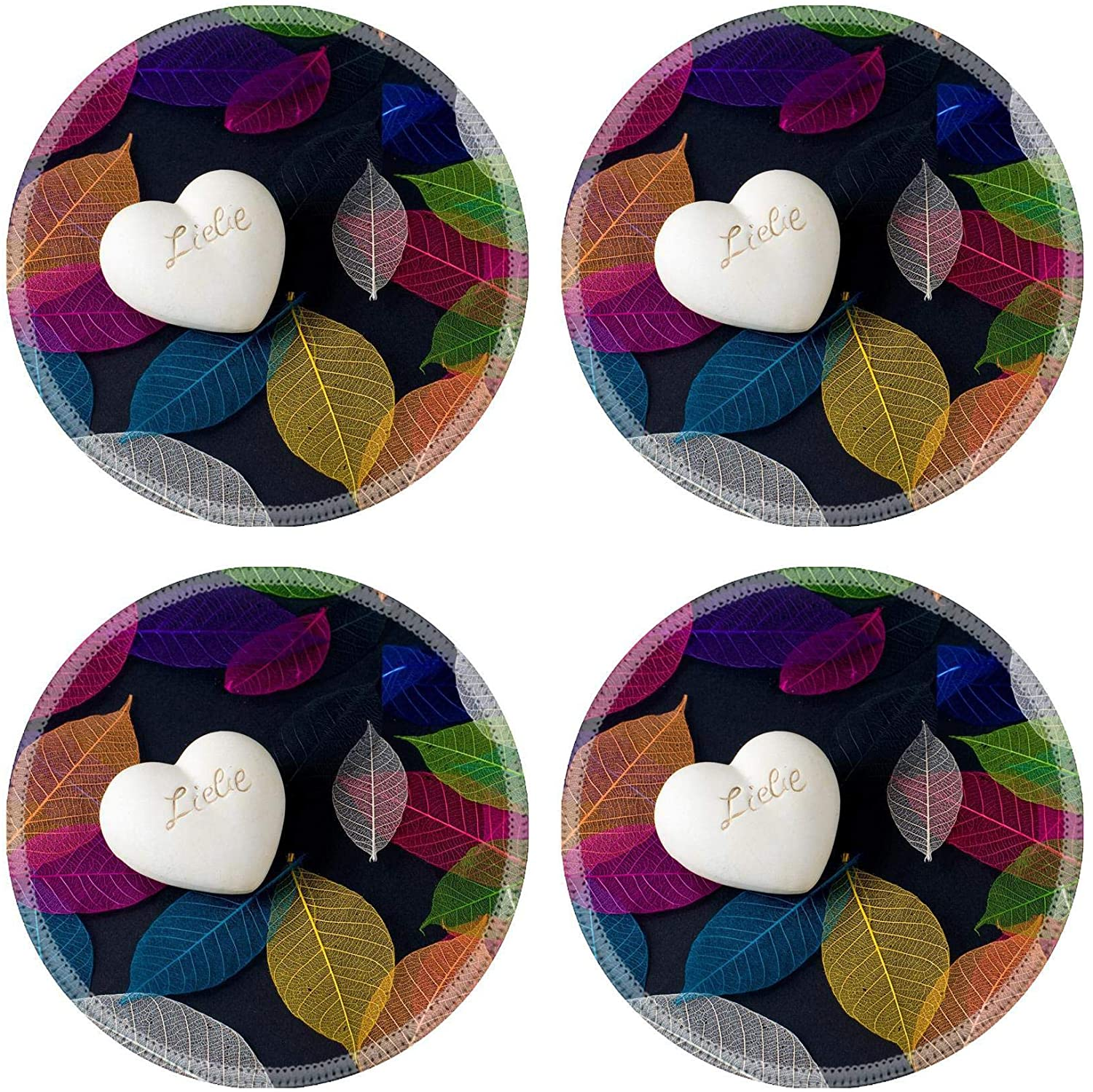 MSD Natural Round Drink Coaster set of 4 Image ID: 8807461 Heart of stone on the carpet of colorful leaves
