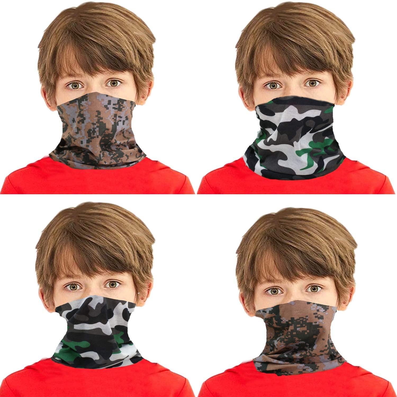 4 Pieces Kids Neck Gaiter Bandanas Kids Face Scarf Kids Face Mask Face Gaiter UV Protection Face Masks for Kids