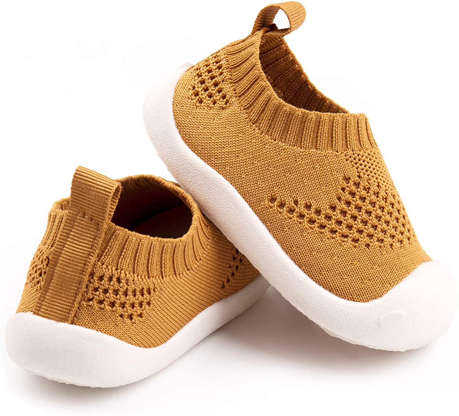 Baby First-Walking Shoes 1-4 Years Kid Shoes Trainers Toddler Infant Boys Girls Soft Sole Non Slip Cotton Canvas Mesh Breathable Lightweight TPR Material Slip-on Sneakers Outdoor