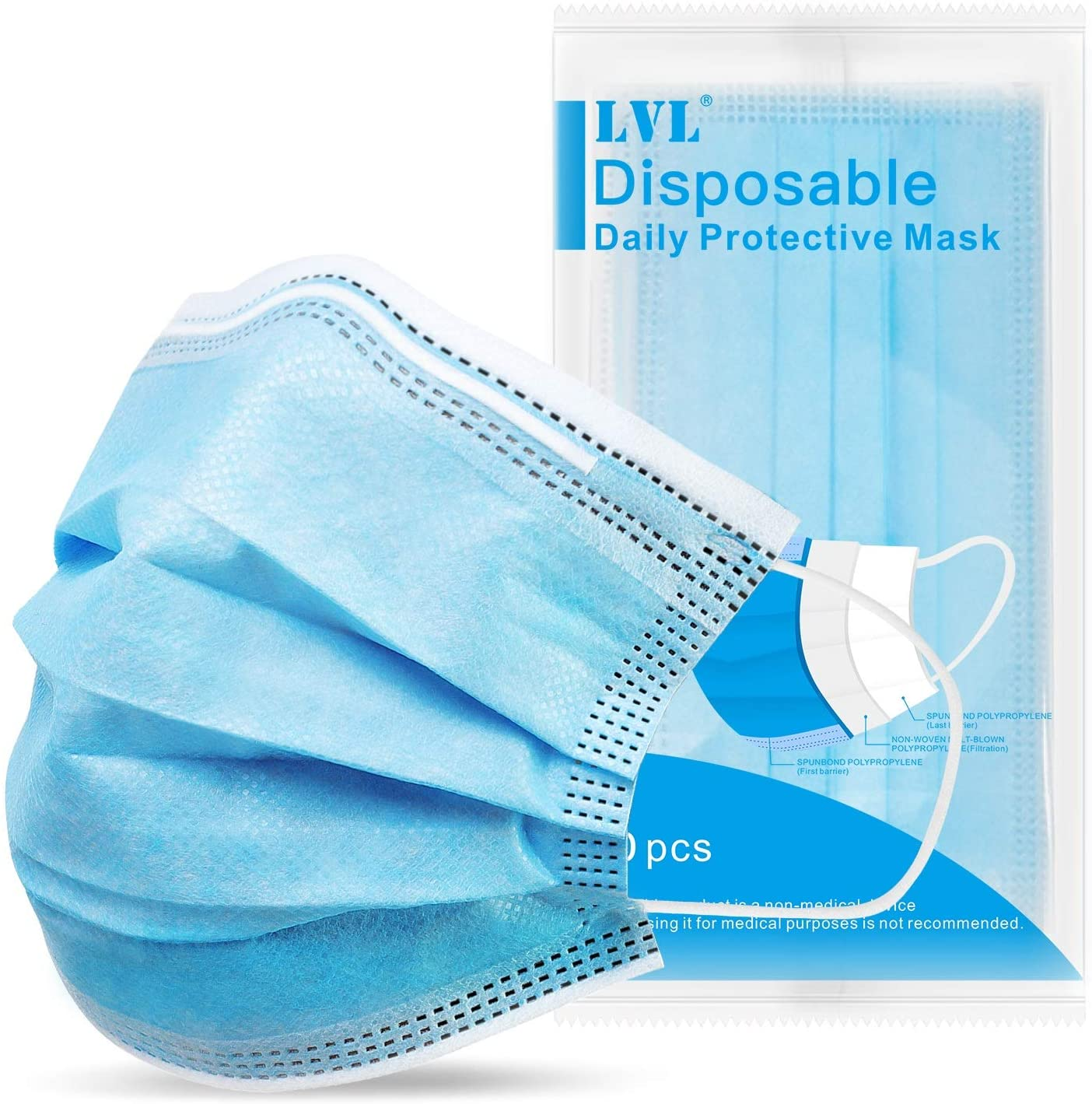 LVL Disposable Face Mask 50PCS, Unisex Protective Mouth Cover with 3-Layer Masks for Outdoor/Indoor, Dust Shield with Elastic Ear Loops Breathable & Comfortable Filter, 5 Packs, 50 PCS