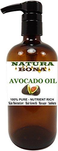 Avocado Oil Pump, 100% Pure Organic Cold Pressed Rich in Vitamin E - BIG 16 OZ Glass Pump Bottle: Great for Massages, Carrier Oil, Skin Moisturizer, Hair Conditioner, Sunburns (AVOCADO OIL, 16 OZ)