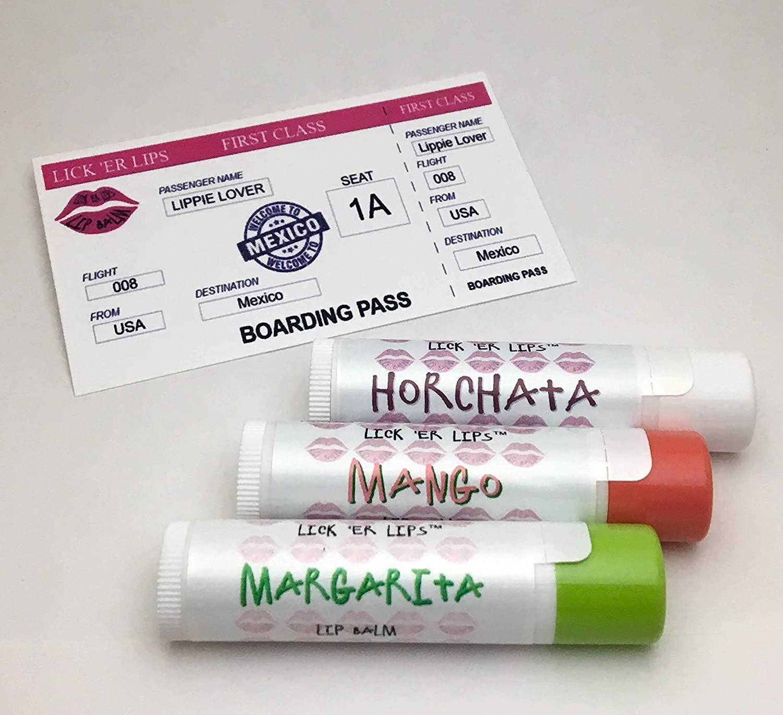 World Flavors Lip Balm (Mexico) Pack | Horchata Mango Margarita | Beeswax Shea Cocoa Butter Jojoba Hemp Castor Oils Vitamin E | 3 tubes (4 grams each) in retro Suitcase Tin