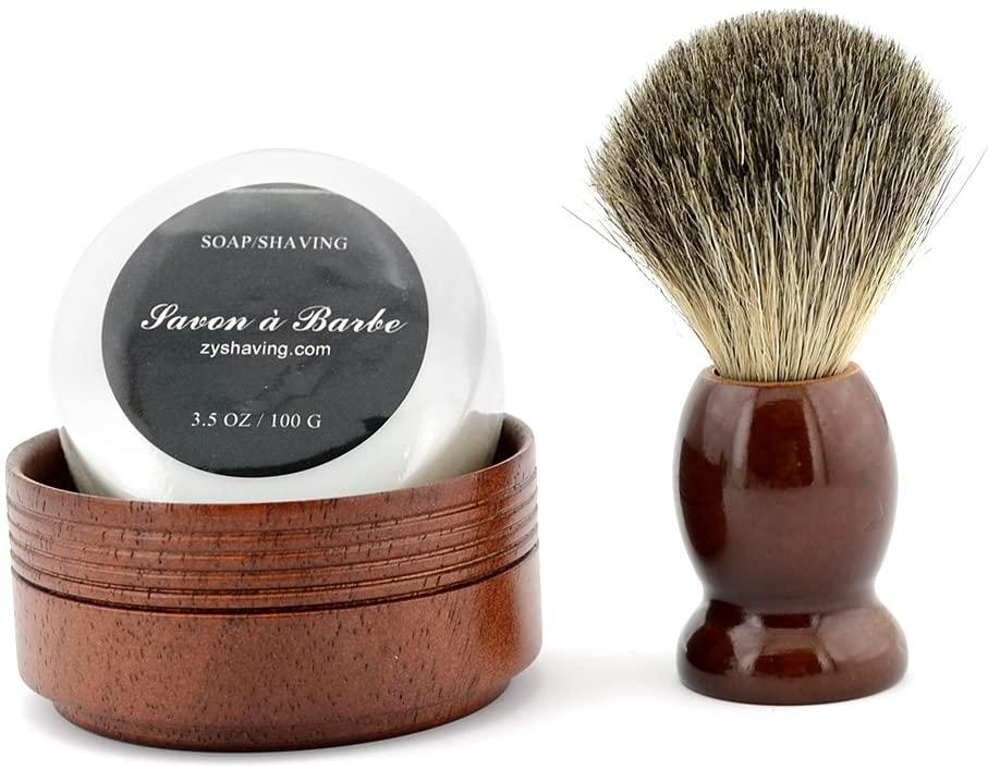 Pure Badger Hair Shaving Brush Natural Wood Mug Bowl Hand-Made Soap Barber Set