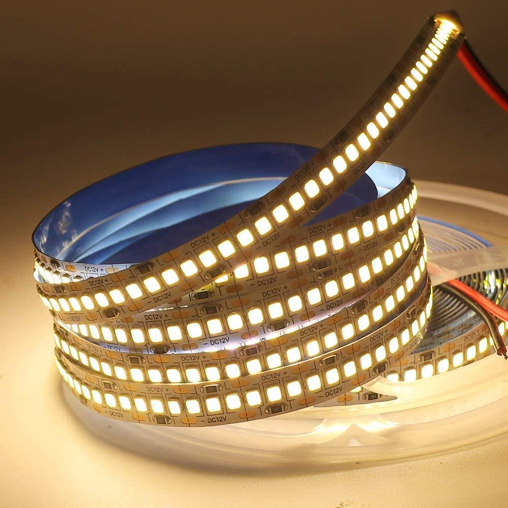 XUNATA LED Strip Lights, Non-Waterproof SMD 2835 LED Strip, DC12V 1200LEDs 16.4Ft 20-22Lm/LED High Density LED Light Strips, 3 Times Brightness Than SMD3528 LED Strip, Warm White 3500K