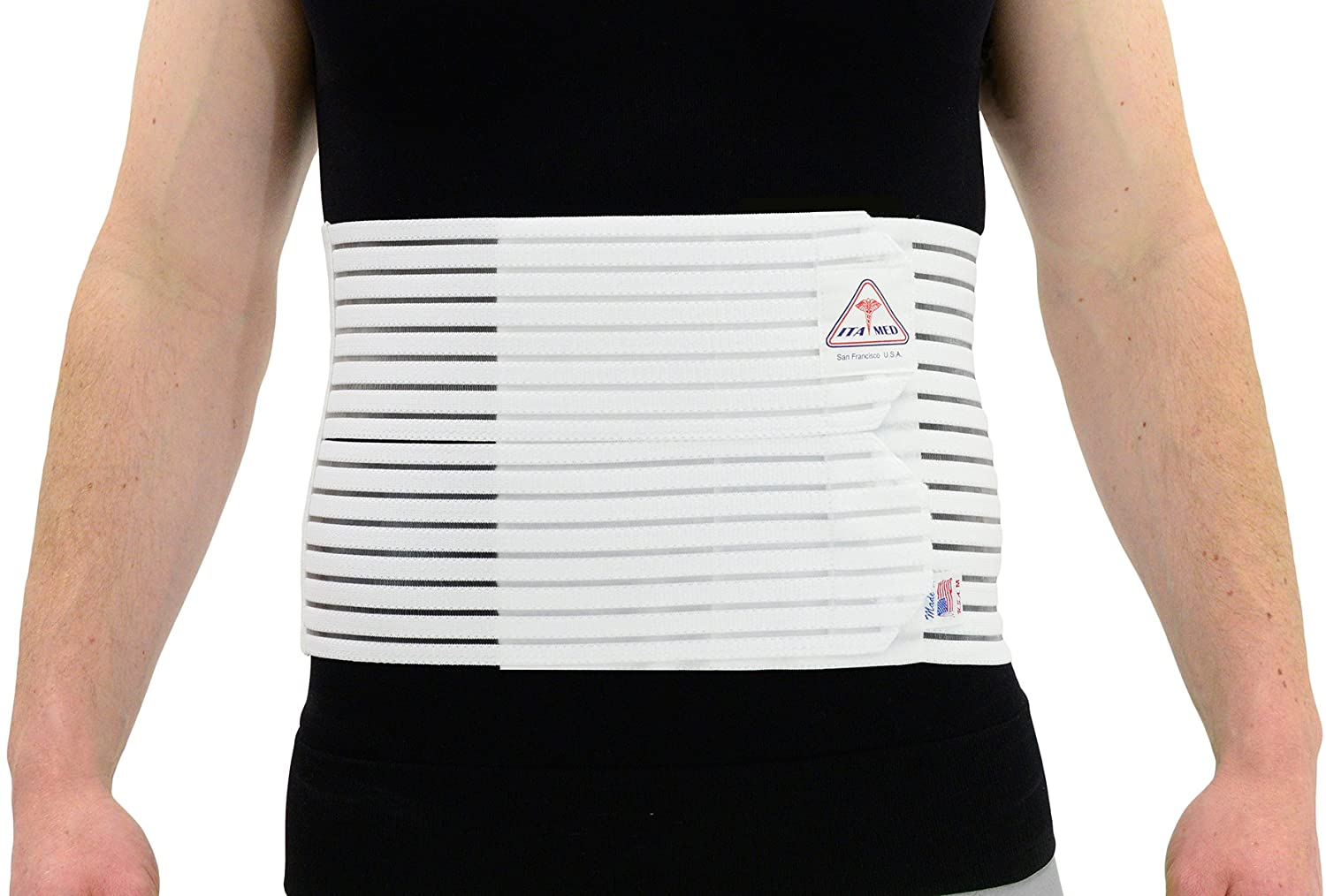 ITA-MED Men's Breathable Abdominal/Back Support Binder AB-208: White Small