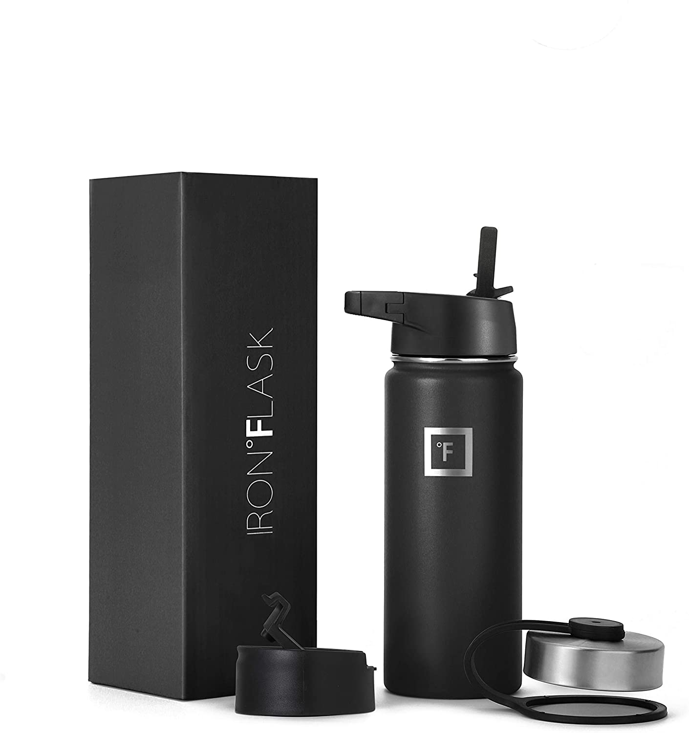 Iron Flask Sports Water Bottle - 18 Oz, 3 Lids (Straw Lid), Vacuum Insulated Stainless Steel, Hot Cold, Modern Double Walled, Simple Thermo Mug, Hydro Metal Canteen (Black)
