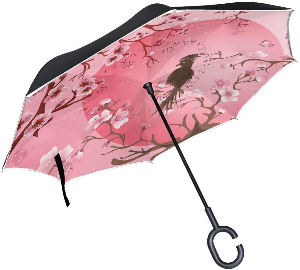 ABLINK ALAZA Japanese Cherry Blossom Sakura with Bird Windproof UV Proof Reverse Folding Umbrella, Double Layer Travel Inverted Umbrella with C Shape Handle for Car Use
