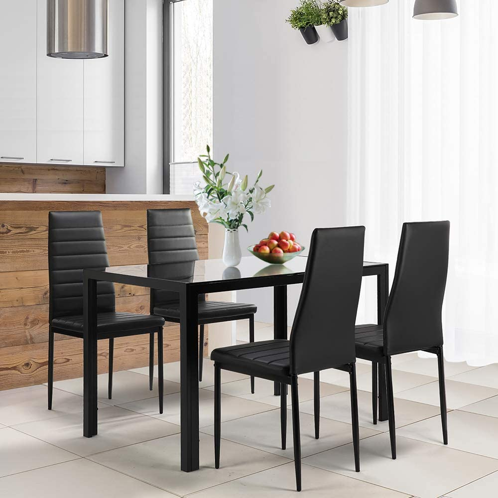 SLEERWAY 5 Pieces Dining Table Set for 4 People, Tempered Glass Desktop Kitchen Table with 4 PU Leather Chairs, Modern Dining Room Sets for Small Space, Home Furniture - Black