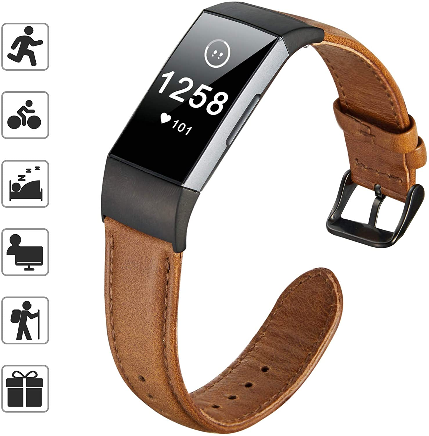 TOMALL Leather Bands Compatible for Charge 3, Genuine Leather Strap Replacement Wristband Straps for Women Men (Brown)