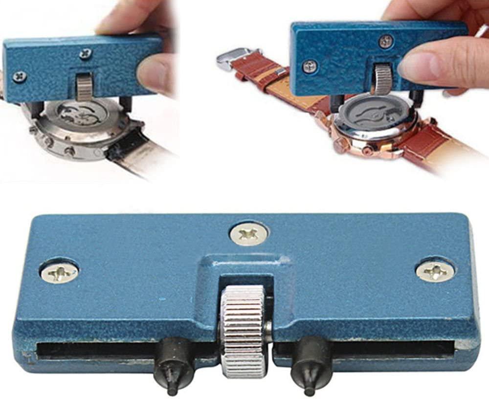 Watch Adjustable Back Case Opener Closer Remover Repair Watchmaker Holder Tool Blue