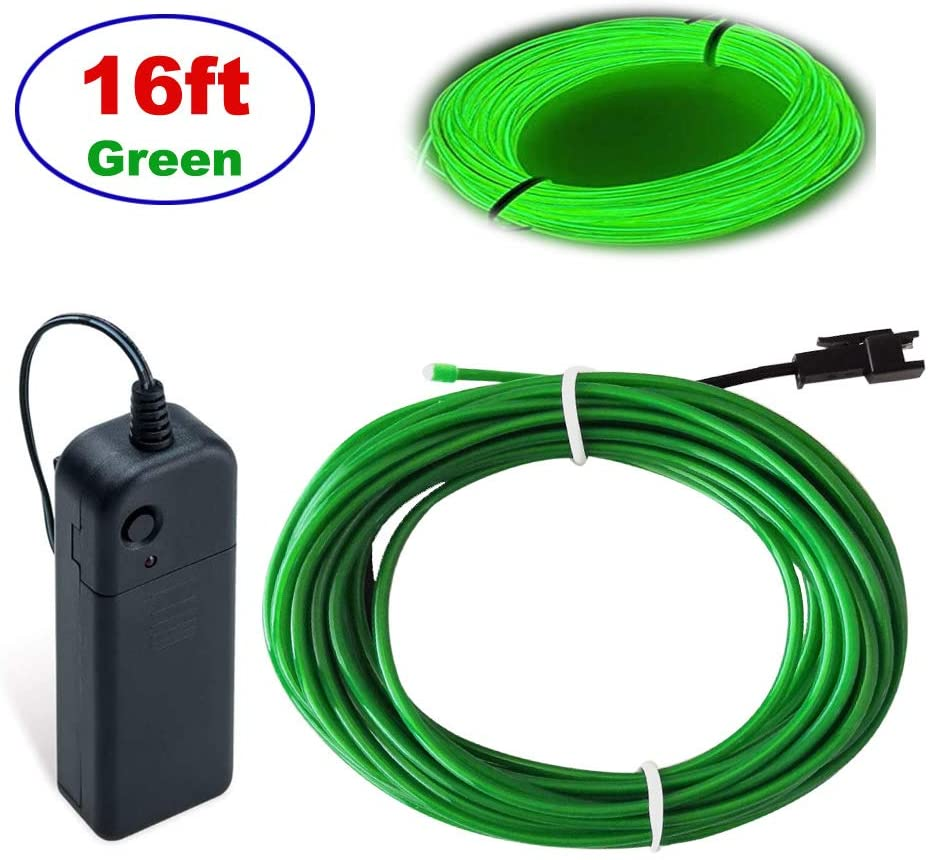 EL Wire Green,MaxLax 16ft Neon Lights Portable Neon Glowing Strobing Electroluminescent Wire for Parties,Parties, Halloween, Blacklight Run,DIY Decoration