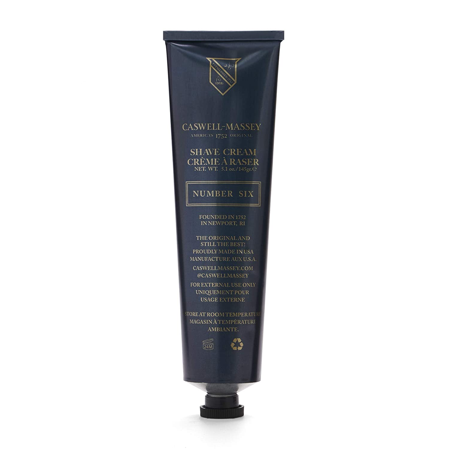 Caswell Massey Number Six Smooth Mens Shaving Cream Fights Nicks, Cuts and Razor Burn Tube