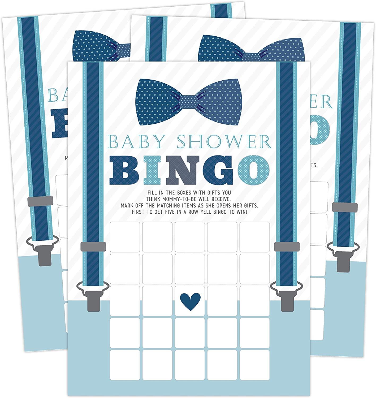 Little Man Bingo, Printed Boy Baby Shower Games, Set of 50