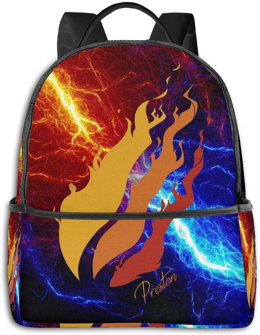 Qijujizz Preston Fire Style Playz Backpack Students Bookbag Durable Traveling Bag Lightweight Daypack
