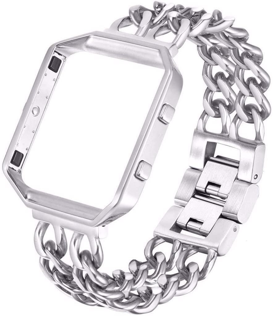 Steel Frame & Band for The Fitbit Blaze [Medium - 7.2 inch Not for Huge Wrists] (Chainlink Wristband), Stainless Chain Link Strap for The Smart Fitness Watch (Standard and Special Editions)