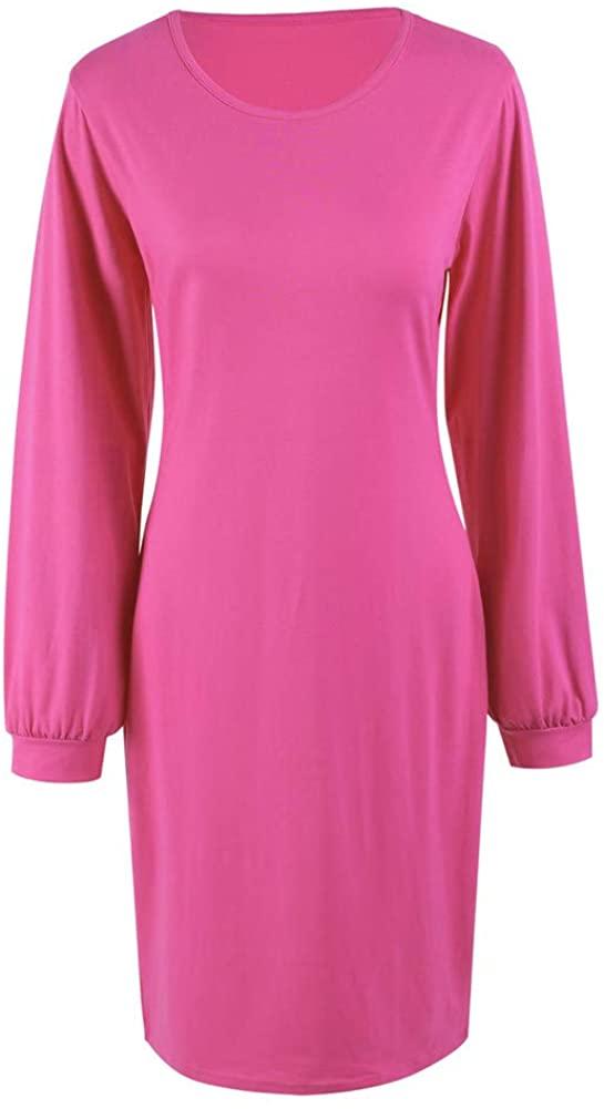 N /A Womens Medium Length Slim Crew Neck Cotton Like Polyester Long Sleeve Buttock Dress