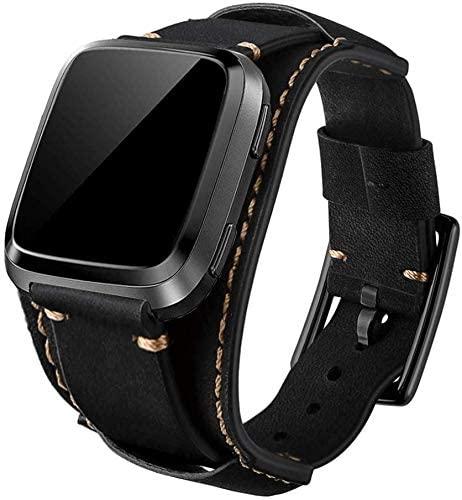 Sjiangqiao Bands Compatible with Fitbit Versa 2/Versa/Versa Lite /Versa SE, 23mm Genuine Leather Cuff Bracelet Replacement Strap Adjustable Wristband for Fitbit Versa Smart Watch for Men Women(Black)