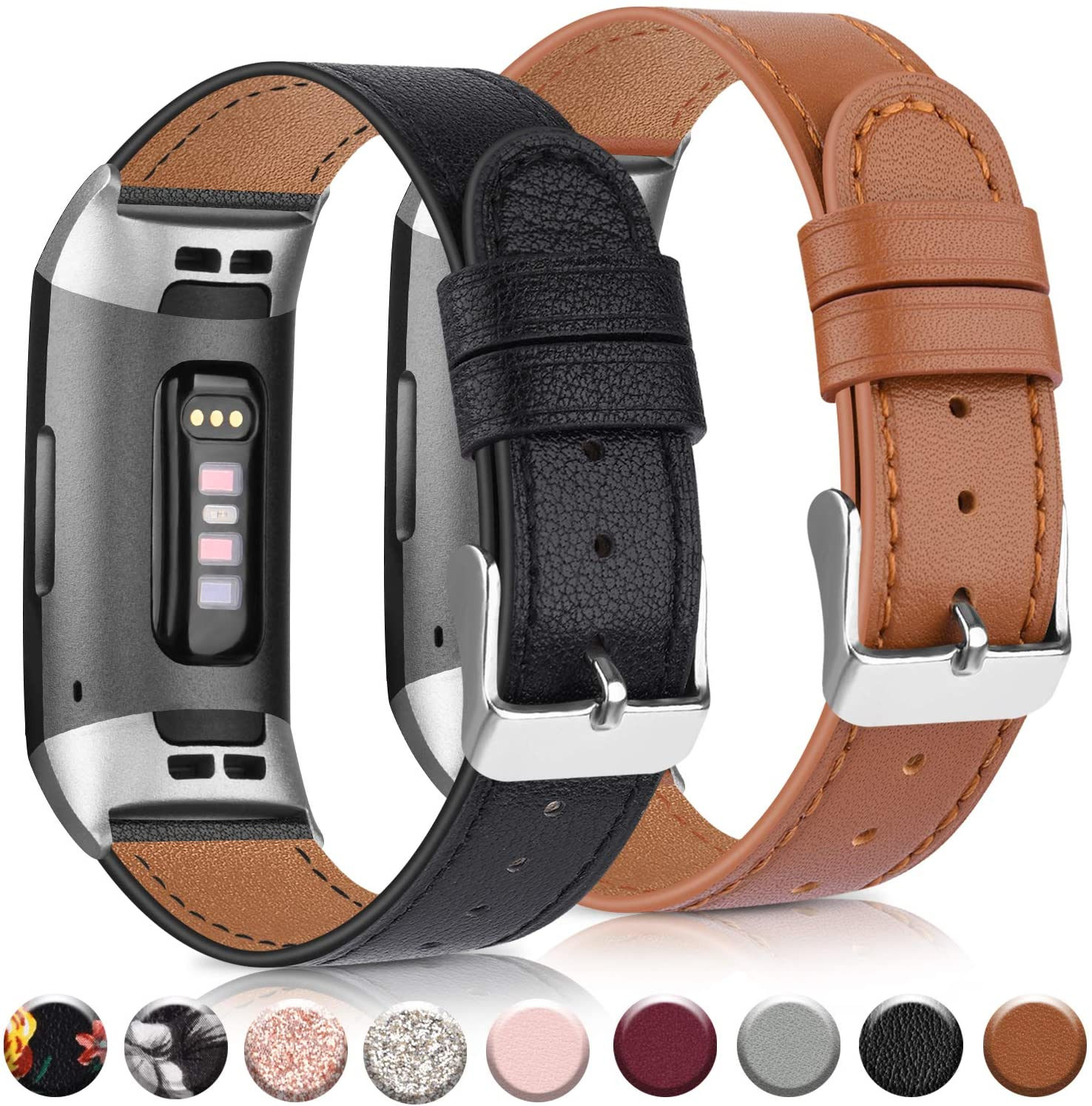 AK Leather Band Compatible with Fitbit Charge 4 Bands & Fitbit Charge 3 Bands, Adjustable Top Grain Leather Wristband for Charge 4 / Charge 3 / Charge 3 SE Smart Watch (Black/Brown)