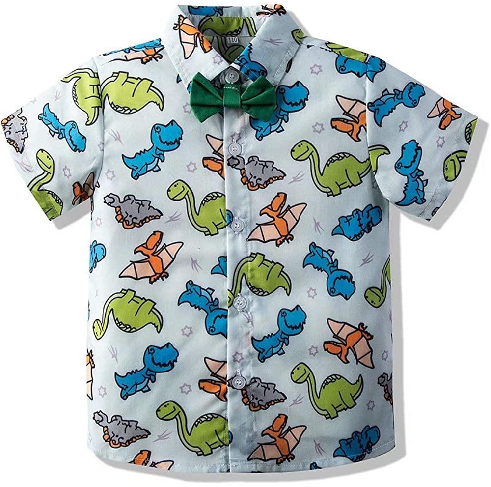 Hemopos Boys Summer Shirt, Short Sleeve Dinosaurs Print Gentleman Shirt, Size 1-6 Years