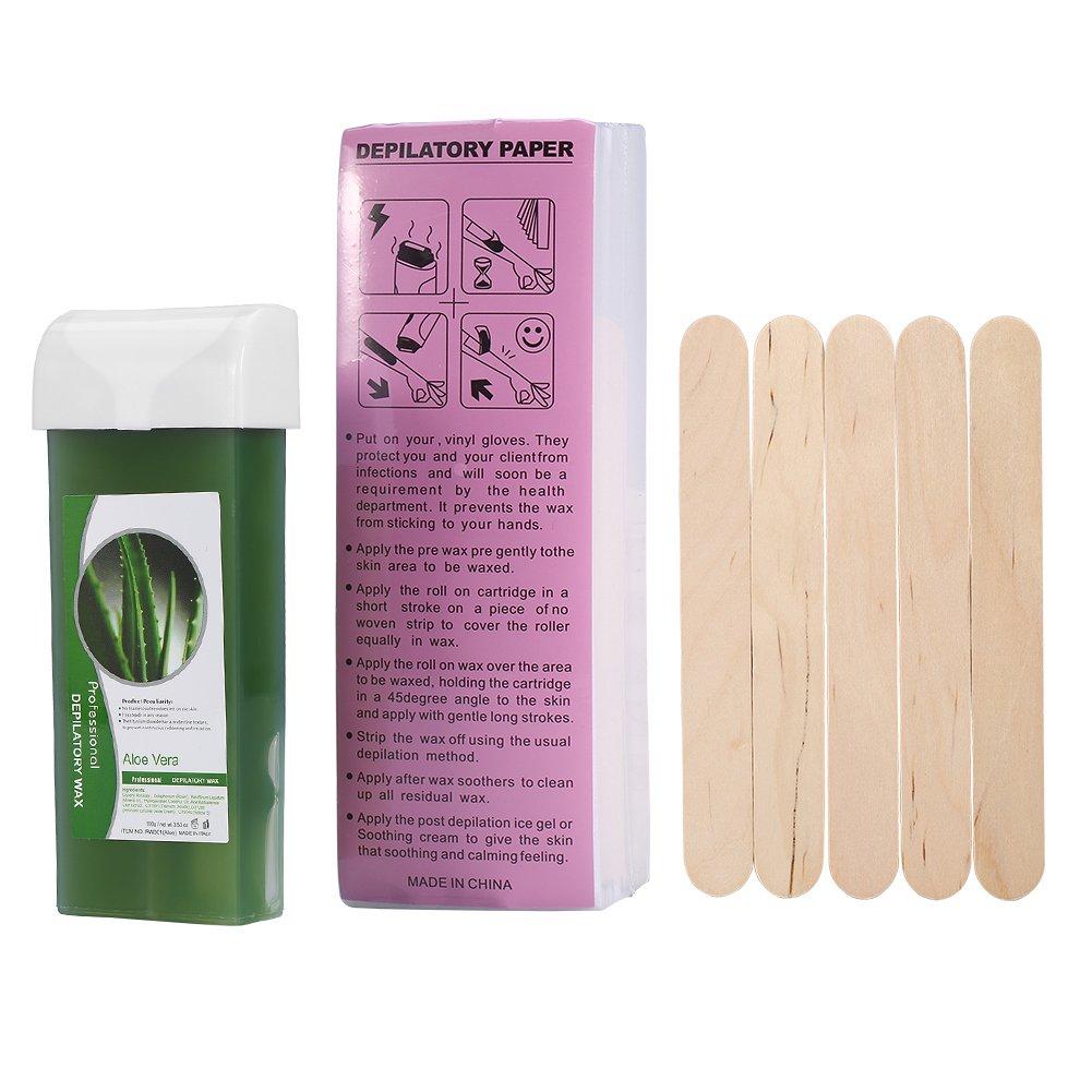 Waxing Roller, 3Types Cartridge Wax Depilatory Roller Warmer Heater Waxing Body Hair Removal Machine (Aloe)