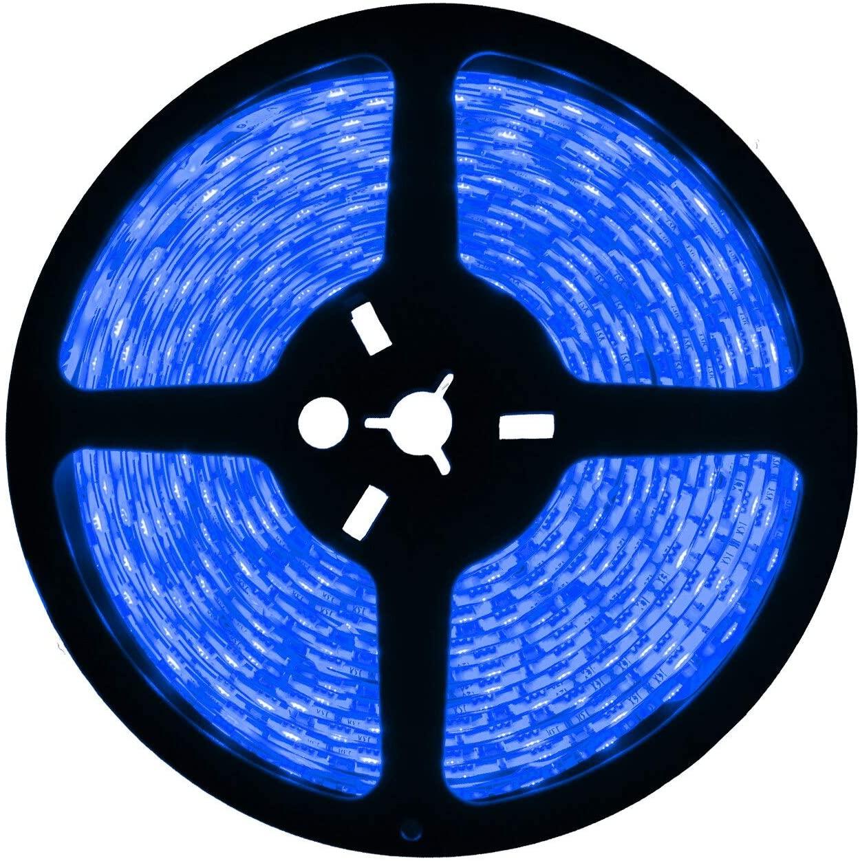 Brilliant Brand Lighting Blue LED Strip Light - 12 Volt - High Output (SMD 3528) - Indoor Use (IP22) - 16.4 Feet