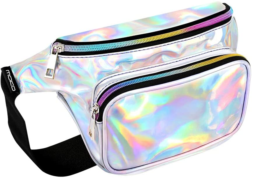 MoKo Holographic Rave Fanny Pack for Women, Shinny Fashion PU Waist Pack Multiple Pocket Travel Money Belt Bum Bag with Adjustable Belt for Festival, Travel, Party, Date,Shopping