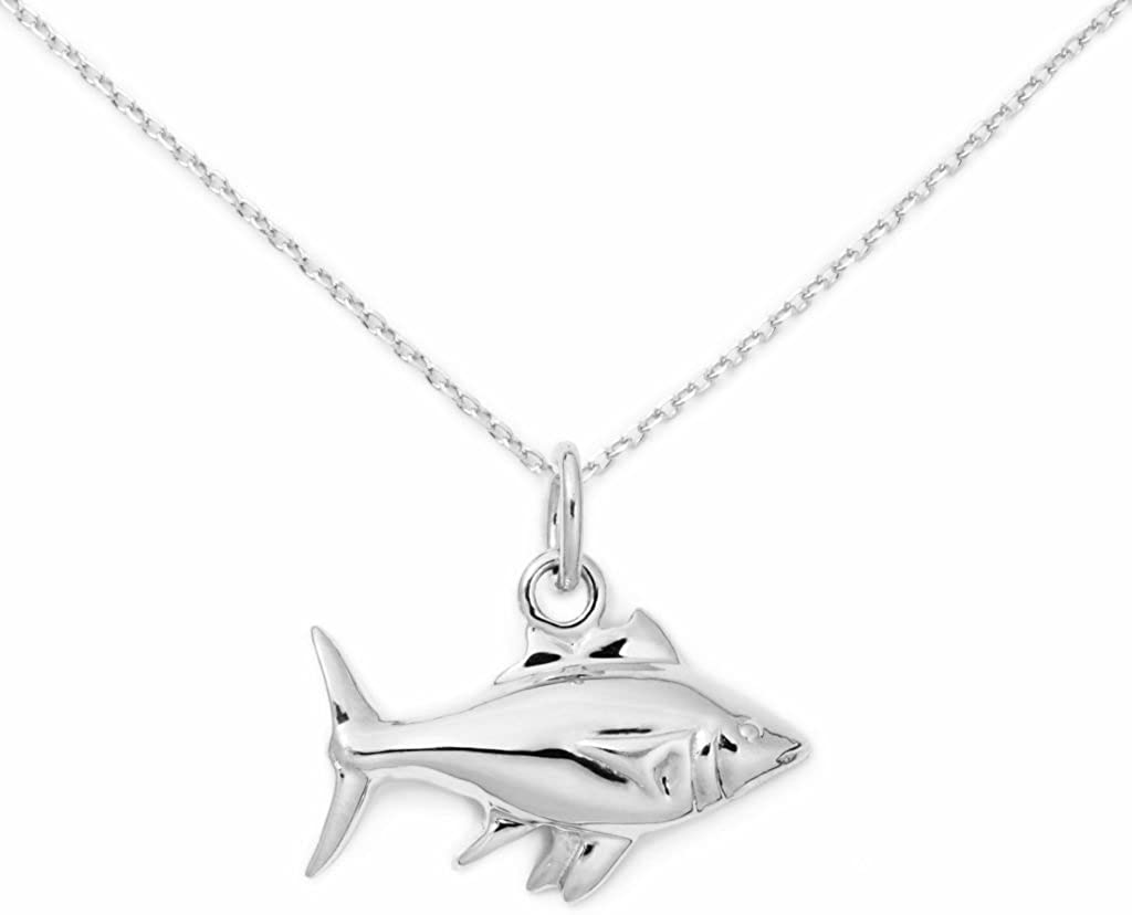 Delicacies Sterling Silver Fish Necklace, Food Jewelry for Food Lovers, Chefs, Cooks and Epicureans