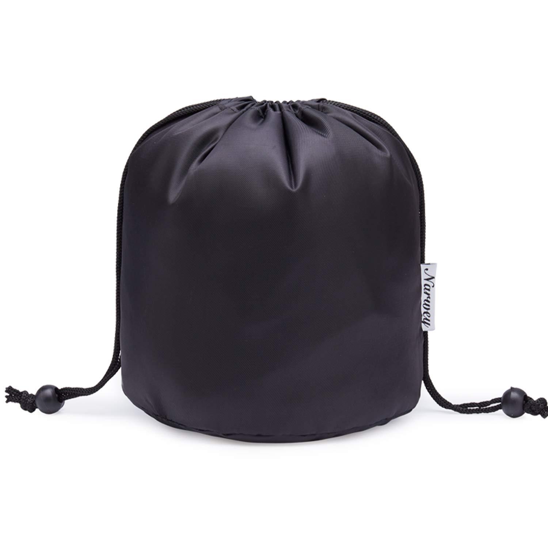 Barrel Makeup Bag Travel Drawstring Cosmetic Bag Toiletry Organizer Waterproof for Women and Girls (Small, Black)