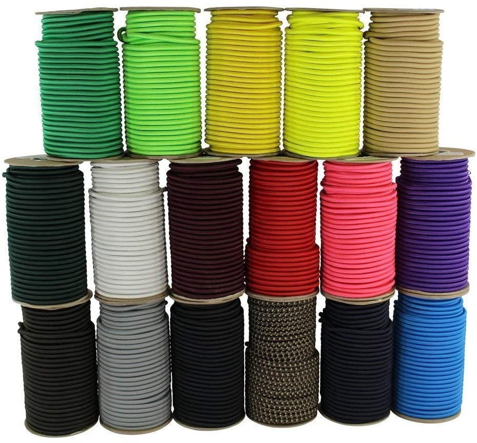 Shock Cord 1/8 Inch - SGT KNOTS - Marine Grade Dacron Polyester Bungee - 100% Stretch - Moisture, UV, Weather Resistant - DIY Projects, Tie Downs, Commercial, Indoor, Outdoor (10 feet - Silver)