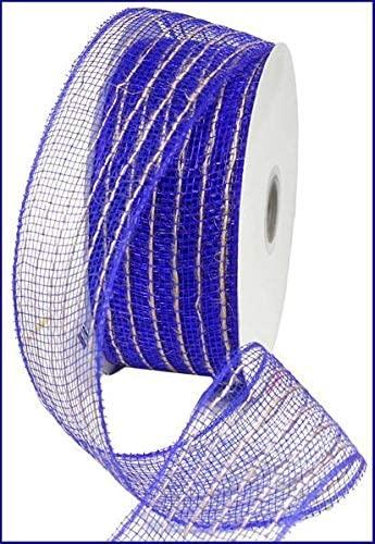 Royal Blue Jute Poly Deco Mesh Ribbon (2.5 Inches x 25 Yards)