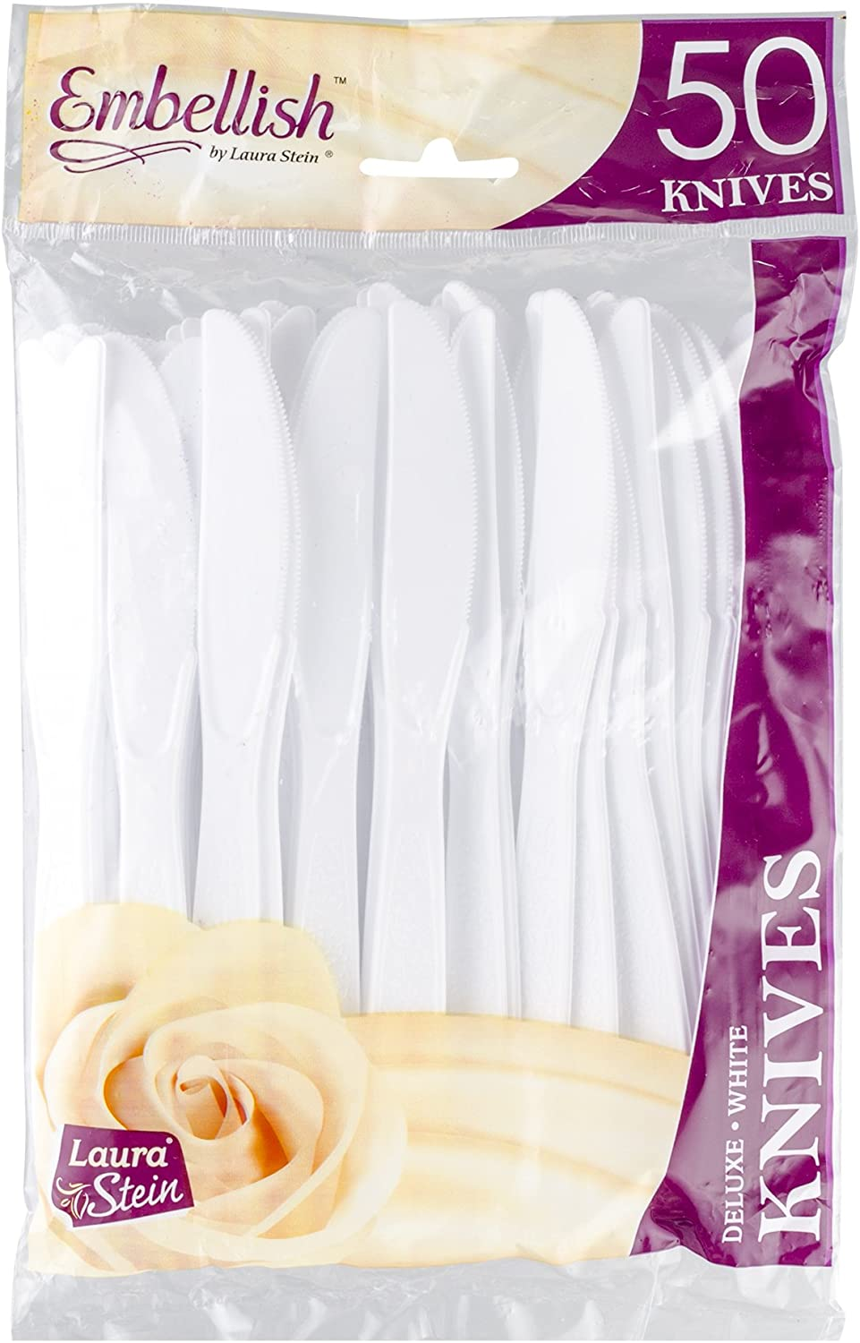 [50 Knives] Embellish White Disposable Heavy Duty Plastic Knives, Ideal For Wedding, Catering, Parties, Buffets, Events, Or Everyday Use,