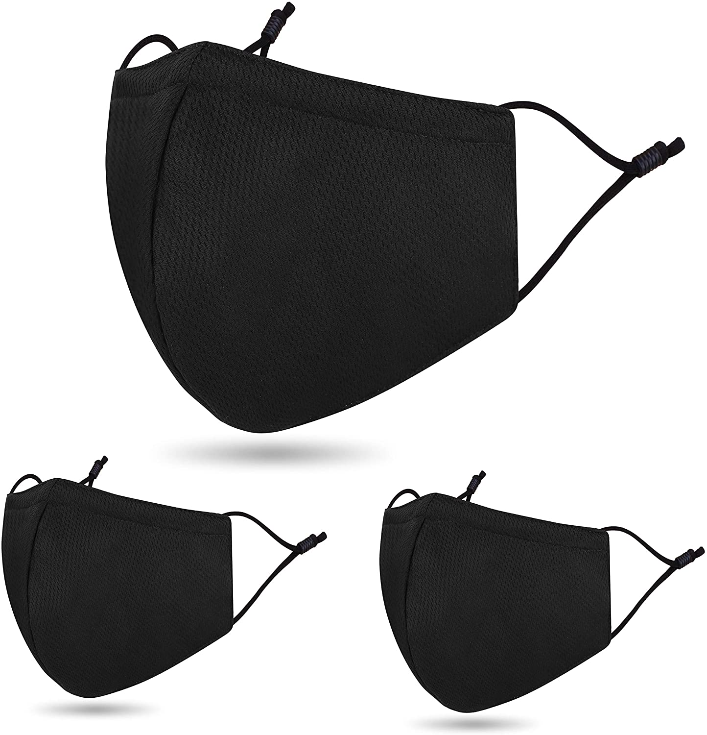 3 Pack Unisex Reusable Adjustable PLY Cloth Face Madks Washable 2 Layers Madks Windproof Black