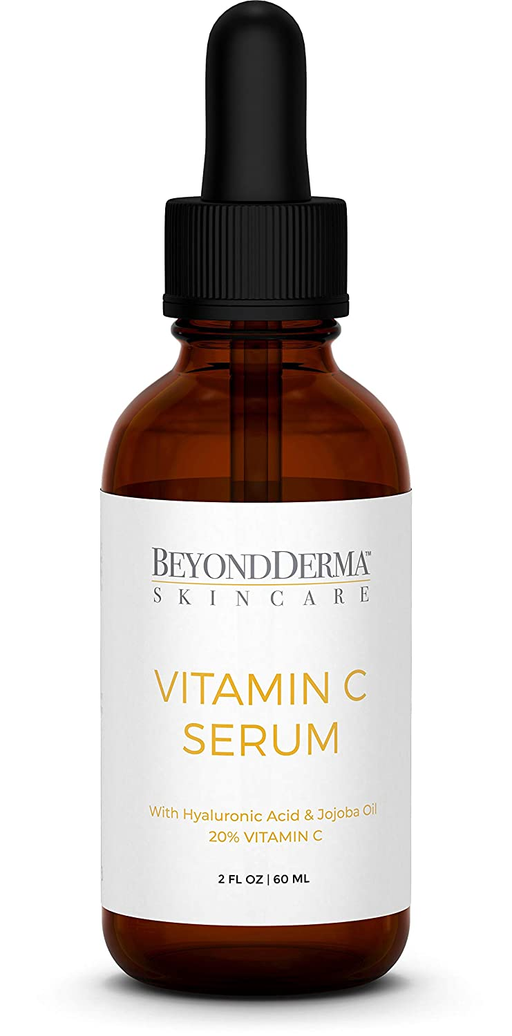 Beyond Derma Natural Vitamin C Serum with Hyaluronic Acid and Vitamin E, Professional Anti-aging Moisturizer Serum for Face, Neck & Decollete and Eye Treatment 2 fl. Oz.