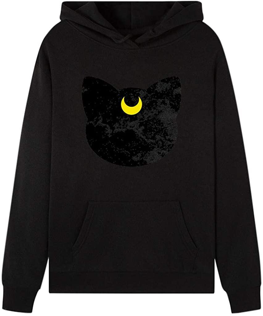 Qwent Women Casual Long Sleeve Hooded Loose Cartoon Printed Sweatshirt Pullover Blou
