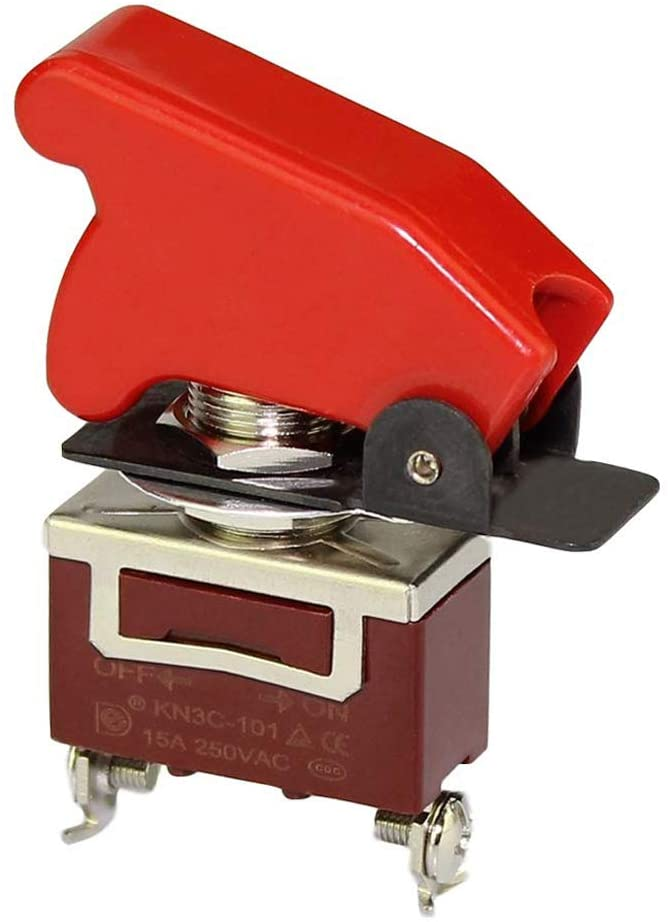 DaierTek Safety Cover Toggle Switch Heavy Duty 20A 125VAC SPST ON-Off 2Pin Rocker Switch Metal 15A 250VAC with Red Aircraft Safety Cover