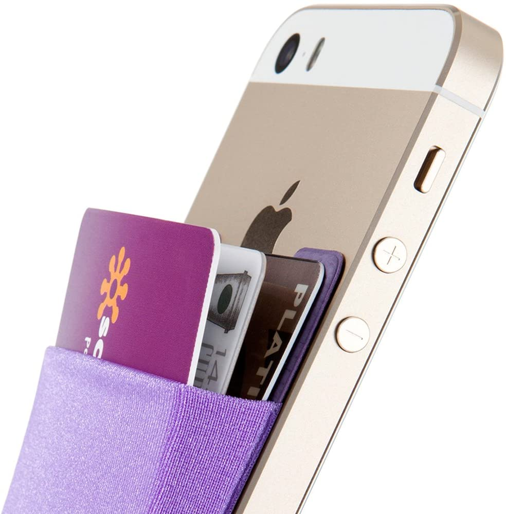 Sinjimoru Card Holder for Back of Phone, Stick on Wallet Functioning as Card Sleeves, Cell Phone Credit Card Holder, Minimallist Wallet Sticker for iPhone. Sinji Pouch Basic 2, Violet