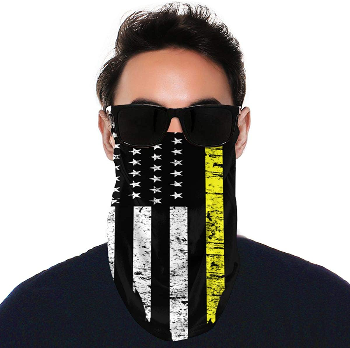 USA Flag Thin Line Bandana Ear Loops Face Scarf Balaclava Men Women Neck Gaiters for Dust Wind Motorcycle Mask