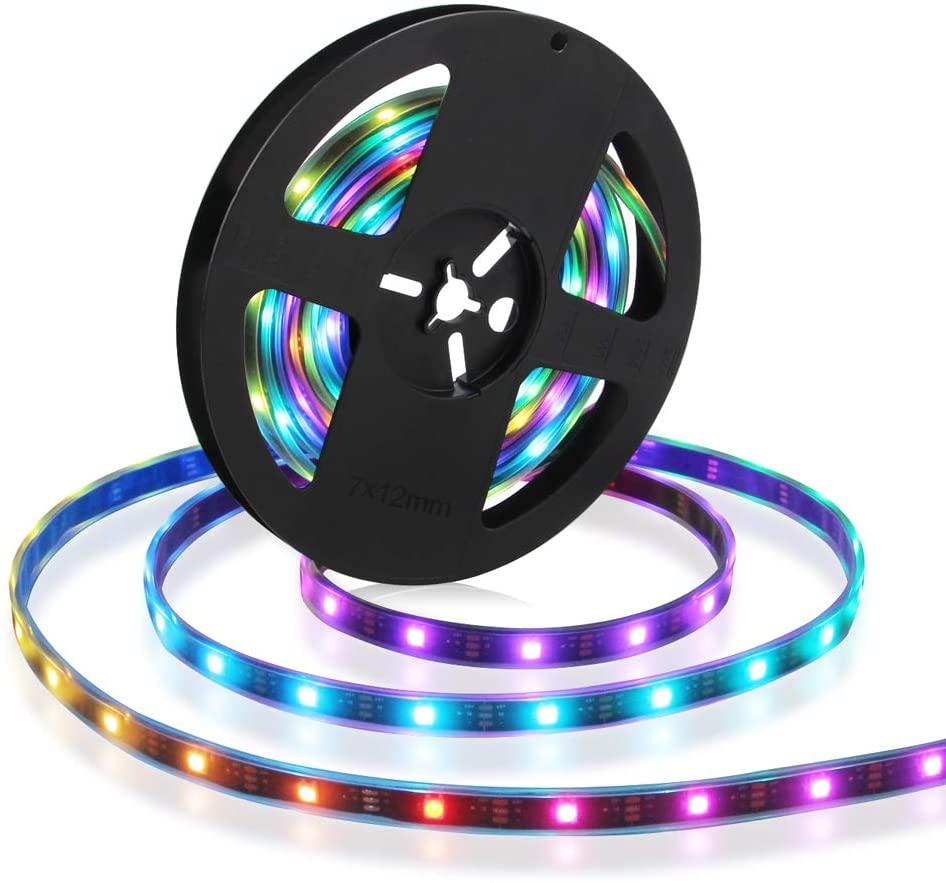 CHINLY WS2812B LED Strip Light 16.4ft/5M Individually Addressable 5050 RGB Flexible Dream Color 30LEDs/m Waterproof IP67 PCB Black DC5V