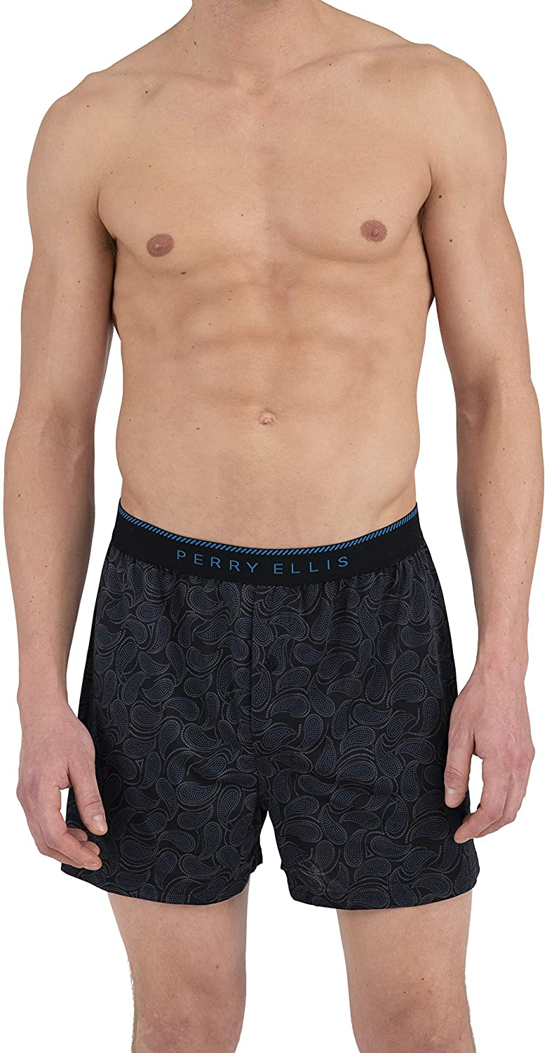 Perry Ellis Men's Paisely Fill Luxe Boxer Short