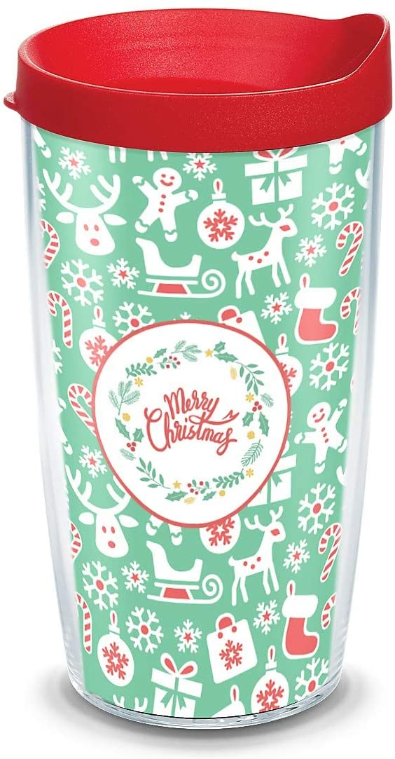 Tervis Christmas Wrap with Red Travel Lid 16-Ounce Tumbler