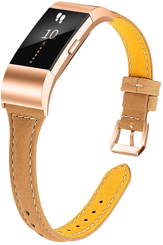 Joyozy Leather Band Compatible with Fitbit Charge 2 Replacement Bands,Slim Classic Genuine Leather Wristband Fitness Strap Women Men(Light Brown with Rosegold Buckle)