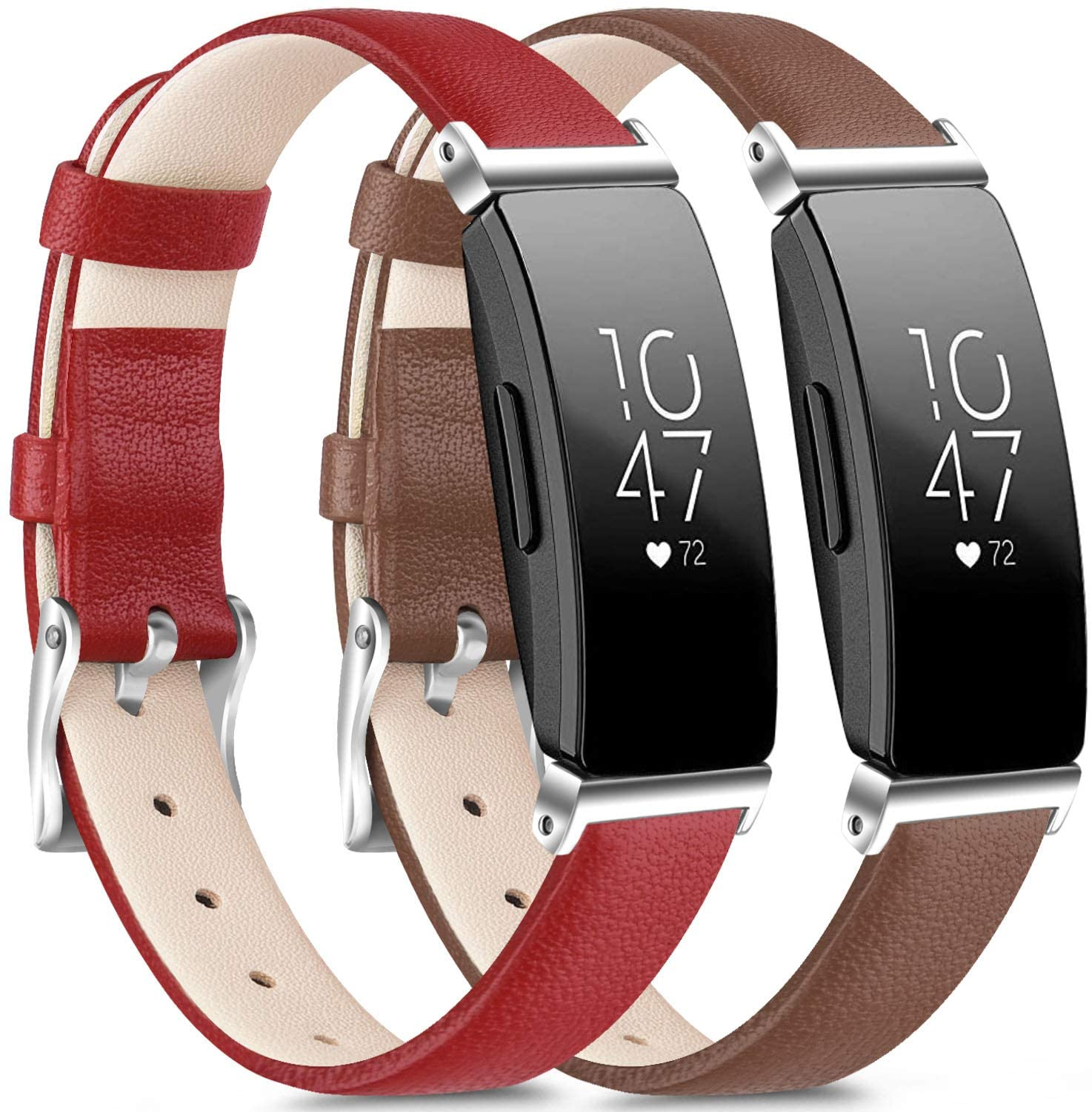 [2 Pack] Leather Bands Compatible with Fitbit Inspire HR Bands for Women Men, Replacement Leather Bands for Fitbit Inspire & Fitbit Ace 2 & Fitbit Inspire HR (Red, Brown)